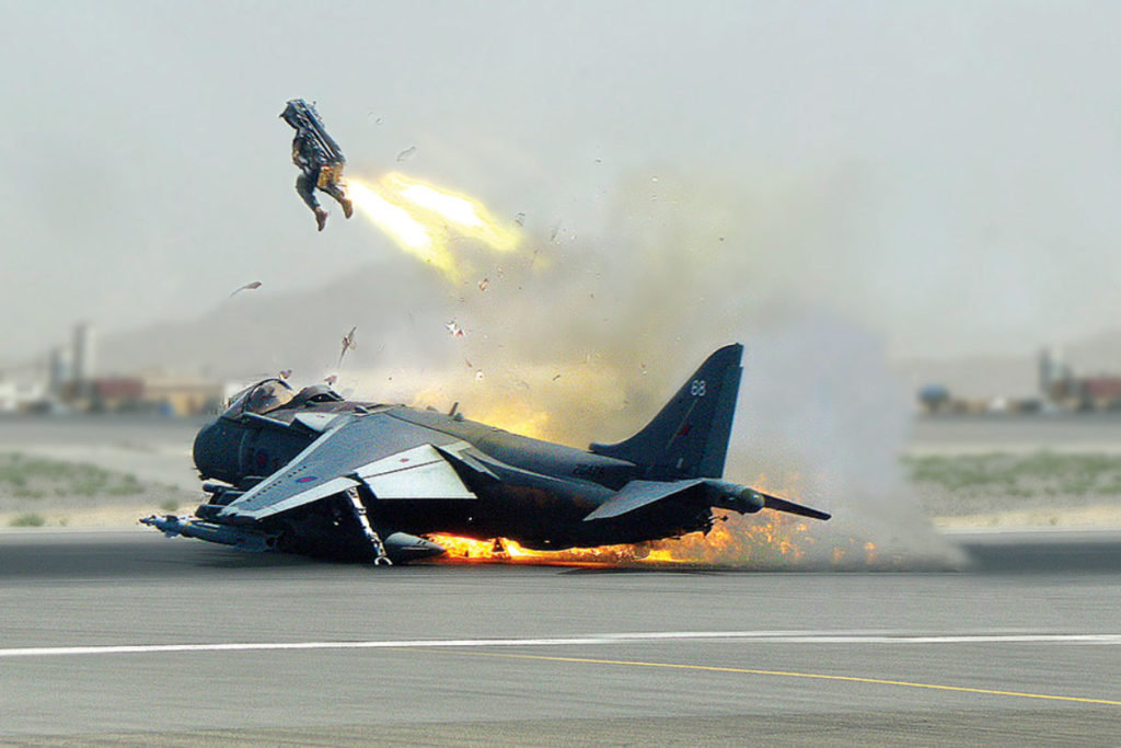 Nick of Time. A British pilot exits his crash-landing Harrier jump jet at Kandahar, Afghanistan, in May 2009.  (Martin-Baker)