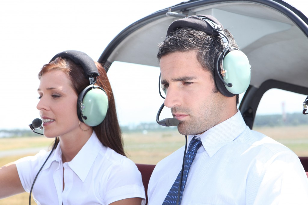 Man and woman in a light aircraft